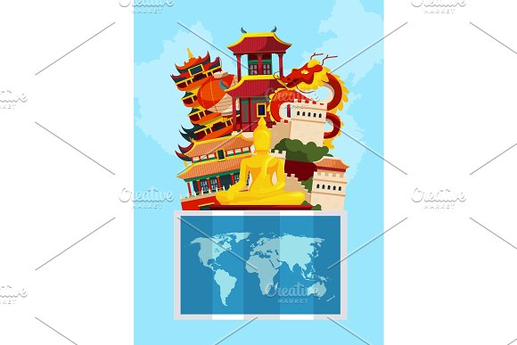 Vector Concept Illustration With Flat Style China Sights Above World Map