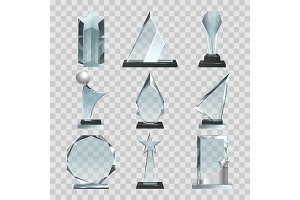 Crystal glass trophy or awards on transparent background