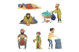 Unhappy dirty poor and desperate peoples. Vector characters set