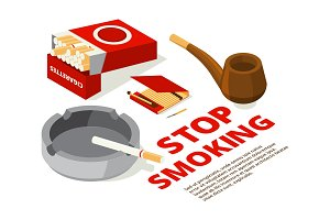 Concept illustrations of stop smoking theme. Various isometric pictures of tools for smokers