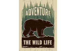 Retro poster with picture of wild bear