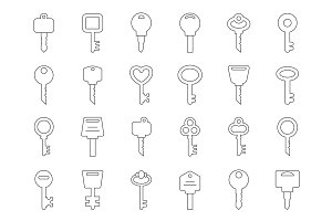 Mono line illustrations of keys for doors