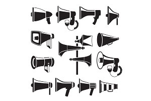 Set monochrome pictures of megaphones. Vector symbols of advertising