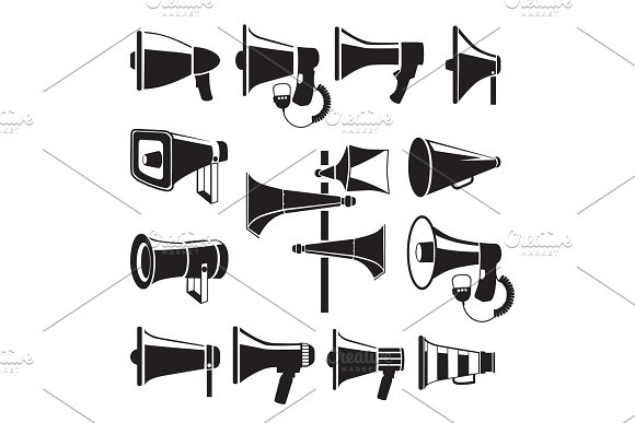 Set Monochrome Pictures Of Megaphones Vector Symbols Of Advertising