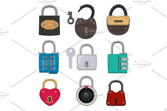 Different Types Of Antique Padlocks Isolate On White Safeguard Concept Illustrations