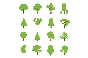 Ecology illustrations set. Flat pictures of green tree