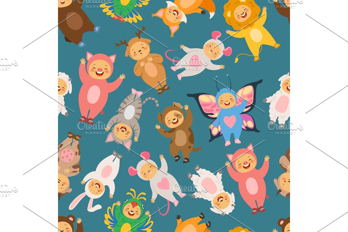 Seamless pattern with illustrations of kids in carnival costumes
