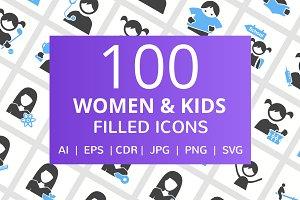 100 Women & Kids Filled Icons