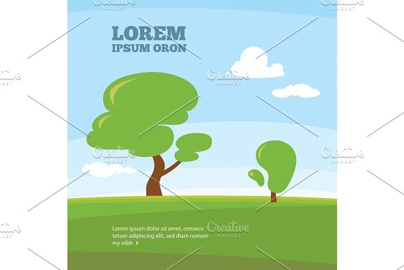 Outdoor illustration with green tree and grass. Vector landscape