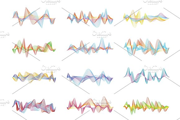 Abstract sound waves. Voice or music digital visualizations for equalizer panels