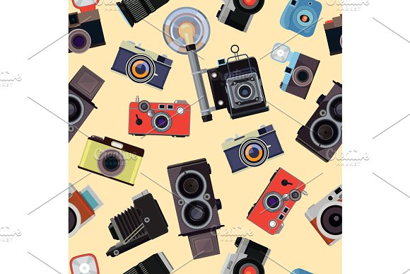 Cartoon seamless pattern with illustrations of retro photo cameras