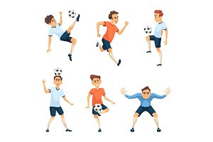 Soccer characters in different action poses