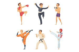 Sport characters in action poses. Taekwondo karate fighters