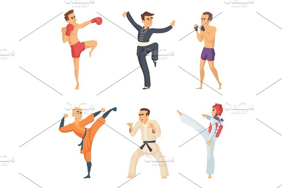 Sport Characters In Action Poses Taekwondo Karate Fighters