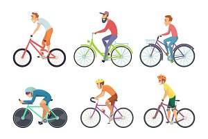Set of bicycle sportsmen. Cartoon characters driving various bikes