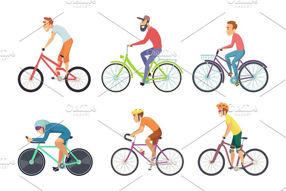 Set Of Bicycle Sportsmen Cartoon Characters Driving Various Bikes