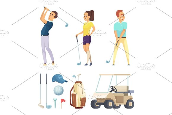 Sport Characters And Various Tools For Golf Players Vector Cartoon Mascots