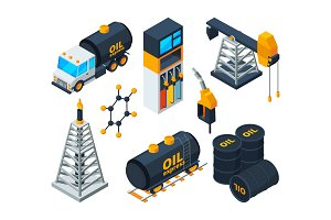Industry 3d isometric illustrations of oil and gas refining