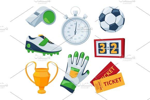 Cartoon Symbols Of Soccer Vector Sport Illustrations