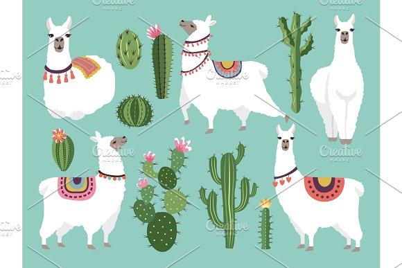 Illustrations Of Funny Llama Vector Animal In Flat Style