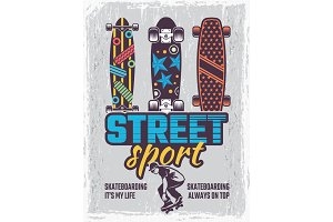 Retro poster with illustrations of colored skateboards
