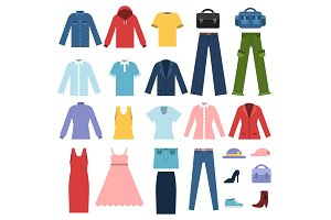 Set of different clothes for male and female