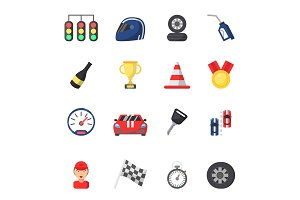 Sport symbols of racing. Car, motor, track and other flat icons