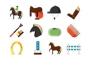 Vector flat icons. Symbols of equestrian sport