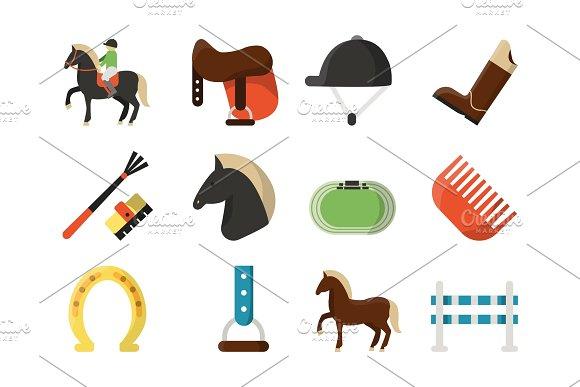 Vector Flat Icons Symbols Of Equestrian Sport