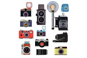 Retro old cameras and symbols for photographers. Vector flat pictures