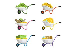 Illustrations of wheelbarrow with money. Vector set