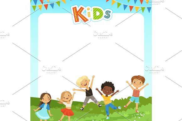 Background Cartoon Illustration With Different Kids And Empty Place For Your Text