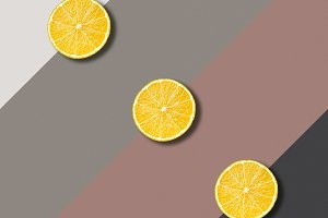 Lemon slices on color background