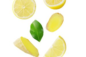 Falling lemon and ginger isolated