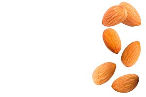 Sweet almonds on white background