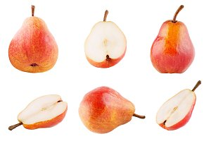 Collection of sweet pears isolated