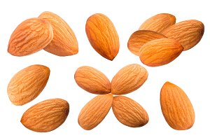 Collection of sweet almonds isolated