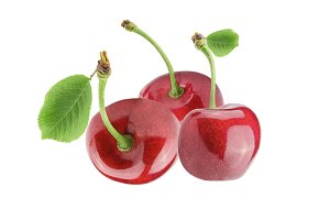 Three sweet cherries with leaf