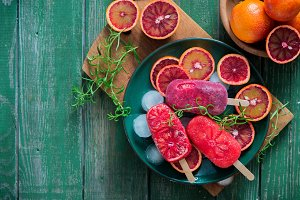 Blood orange rosemary sorbet
