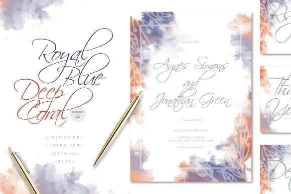 Royal Blue Deep Coral Wedding Suite