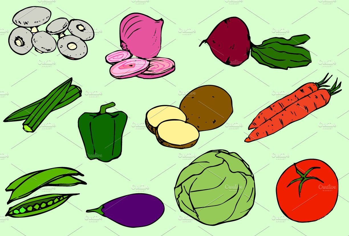Vegetables Vector Clip Art / Icons ~ Icons ~ Creative Market