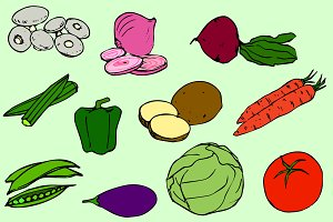 Vegetables Vector Clip Art / Icons