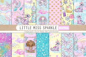 LITTLE MISS SPARKLE digital paper