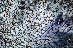 Closeup of broken glass