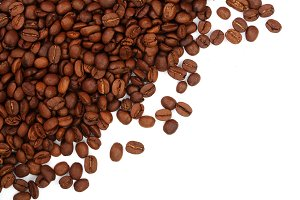 Coffee beans isolated on white background with copy space for your text. top view