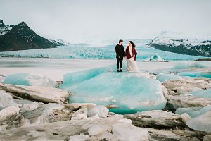 Glacier Lagoon. Wedding in Iceland. Artwork