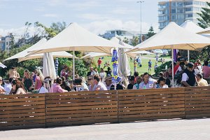 People having lunch beach bar