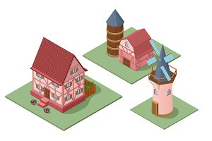 Isometric Farm Buildings Set