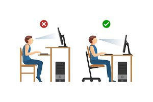 Right position for work at computer instructions set