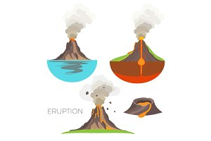 Volcano eruption with hot lava and dark smoke